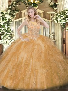 Dazzling Gold Sweet 16 Dress Military Ball and Sweet 16 and Quinceanera with Beading and Ruffles Scoop Sleeveless Zipper