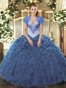 Floor Length Ball Gowns Sleeveless Navy Blue Quinceanera Gowns Lace Up
