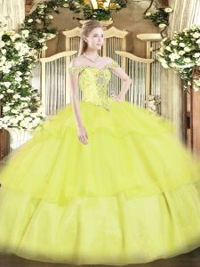 Yellow Off The Shoulder Neckline Beading and Ruffled Layers Quinceanera Dress Sleeveless Lace Up