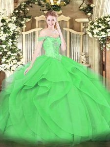 Smart Green Tulle Lace Up Off The Shoulder Sleeveless Floor Length Quinceanera Gown Beading and Ruffles