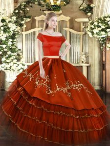 Stunning Organza and Taffeta Off The Shoulder Short Sleeves Zipper Embroidery and Ruffled Layers Sweet 16 Dress in Rust Red