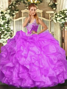 Floor Length Lilac Quince Ball Gowns Organza Sleeveless Beading and Ruffles