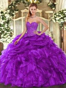 Suitable Floor Length Ball Gowns Sleeveless Purple Sweet 16 Quinceanera Dress Lace Up