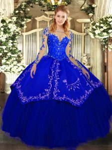 Scoop Long Sleeves Organza and Taffeta Quinceanera Dress Lace and Embroidery Lace Up