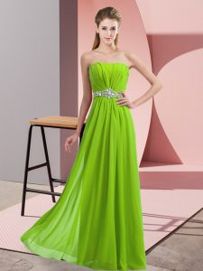 Chiffon Sleeveless Floor Length Prom Evening Gown and Beading