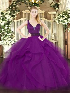 Stunning Purple Zipper Vestidos de Quinceanera Beading and Ruffles Sleeveless Floor Length