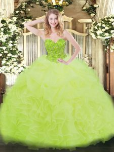 Floor Length Yellow Green Sweet 16 Quinceanera Dress Organza Sleeveless Ruffles
