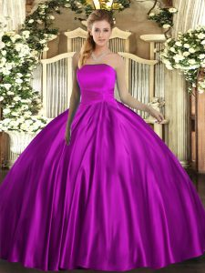 Fuchsia Satin Lace Up Strapless Sleeveless Floor Length 15 Quinceanera Dress Ruching