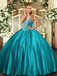 Customized Beading Quinceanera Gowns Teal Lace Up Sleeveless Floor Length