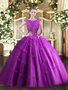 Fuchsia Sleeveless Tulle Zipper 15th Birthday Dress for Military Ball and Sweet 16 and Quinceanera