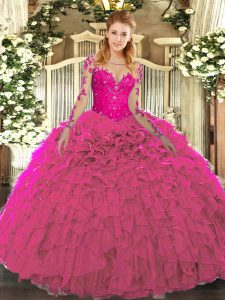 Fuchsia Organza Lace Up Quinceanera Gowns Long Sleeves Floor Length Lace and Ruffles