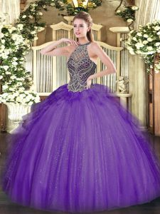 Chic Floor Length Lavender 15th Birthday Dress Halter Top Sleeveless Lace Up