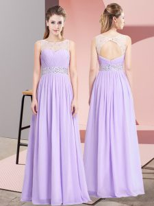 Chiffon Scoop Sleeveless Lace Up Beading Prom Gown in Lavender