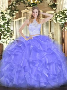 Two Pieces Sweet 16 Dresses Lavender Scoop Organza Sleeveless Floor Length Zipper