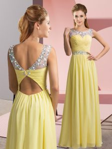 Yellow Prom Party Dress Prom and Party with Beading Scoop Sleeveless Clasp Handle