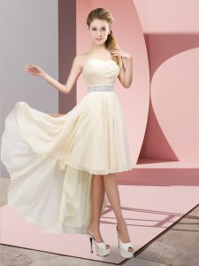 New Style High Low Champagne Prom Gown Sweetheart Sleeveless Lace Up