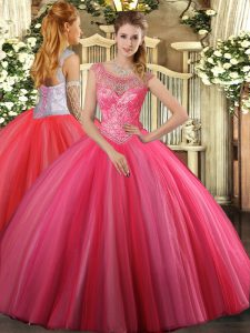 Coral Red Tulle Lace Up 15 Quinceanera Dress Sleeveless Floor Length Beading