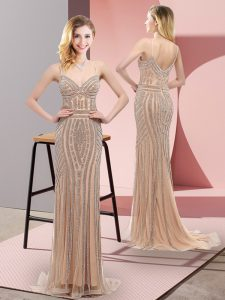 Glamorous Champagne Prom Party Dress Spaghetti Straps Sleeveless Sweep Train Zipper