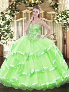 Admirable Ball Gowns Sweetheart Sleeveless Organza Floor Length Lace Up Appliques and Ruffled Layers 15th Birthday Dress