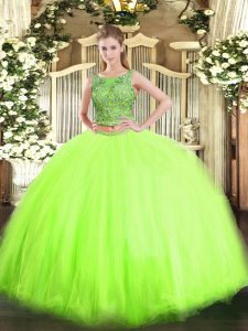 Sleeveless Tulle Lace Up Quinceanera Dress for Military Ball and Sweet 16 and Quinceanera