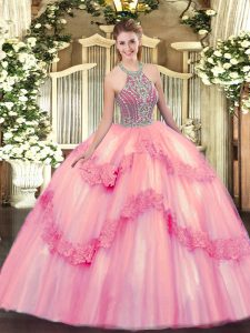 Beauteous Baby Pink Lace Up Quinceanera Gowns Beading and Appliques Sleeveless Floor Length