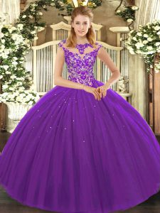 Floor Length Lace Up Ball Gown Prom Dress Eggplant Purple for Sweet 16 and Quinceanera with Beading and Appliques