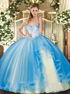 Delicate Baby Blue Sleeveless Floor Length Beading and Ruffles Lace Up Quinceanera Gowns