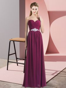 Burgundy Prom Evening Gown Prom and Party with Beading Sweetheart Sleeveless Backless