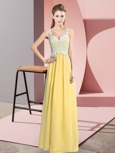 Beauteous Floor Length Yellow Evening Dress V-neck Sleeveless Zipper