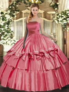Coral Red Sleeveless Organza Lace Up Sweet 16 Dress for Military Ball and Sweet 16 and Quinceanera