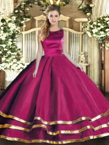 Best Fuchsia Scoop Lace Up Ruffled Layers 15 Quinceanera Dress Sleeveless
