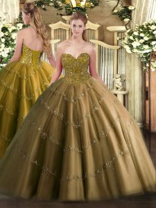 Ball Gowns Quinceanera Gowns Brown Sweetheart Tulle Sleeveless Floor Length Lace Up