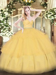 Cute Sweetheart Sleeveless Tulle Ball Gown Prom Dress Beading and Lace and Ruffled Layers Zipper