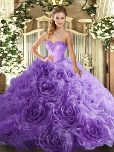 Lavender Sleeveless Floor Length Beading Lace Up Quince Ball Gowns