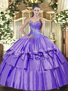 Beading and Ruffled Layers Quinceanera Dress Lavender Lace Up Sleeveless Floor Length