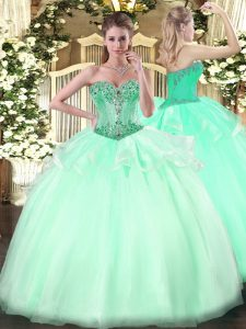 Gorgeous Ball Gowns Quinceanera Dress Apple Green Sweetheart Organza Sleeveless Floor Length Lace Up