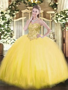 Floor Length Gold 15th Birthday Dress Tulle Sleeveless Appliques