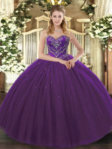 Excellent Ball Gowns Sweet 16 Dress Dark Purple Sweetheart Tulle Sleeveless Floor Length Lace Up