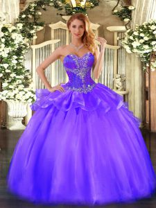 Fashion Purple Tulle Lace Up Sweetheart Sleeveless Floor Length Quinceanera Gown Beading