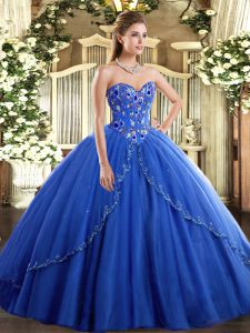 Blue Lace Up Ball Gown Prom Dress Appliques and Embroidery Sleeveless Brush Train