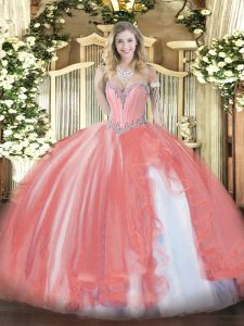 Custom Made Coral Red Sleeveless Beading and Ruffles Floor Length Sweet 16 Dresses