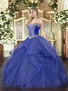 Blue Sweetheart Lace Up Beading and Ruffles Quinceanera Dress Sleeveless