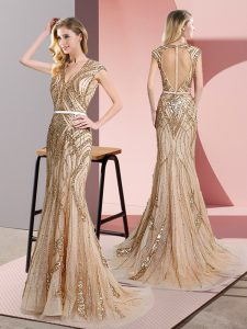 Eye-catching Champagne V-neck Zipper Beading and Belt Prom Gown Sleeveless