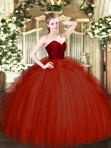 Discount Floor Length Wine Red 15th Birthday Dress Tulle Sleeveless Ruffles