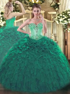 Turquoise Sweetheart Neckline Beading and Ruffles Quinceanera Gowns Sleeveless Lace Up