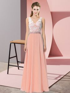 Sweet Sleeveless Backless Floor Length Beading