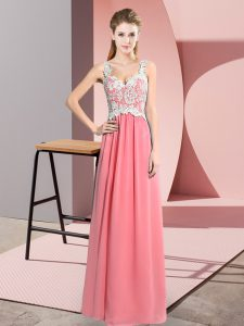 V-neck Sleeveless Chiffon Prom Dresses Lace Zipper