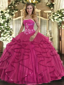 Glamorous Hot Pink Ball Gowns Strapless Sleeveless Tulle Floor Length Zipper Beading and Ruffles Quinceanera Dresses