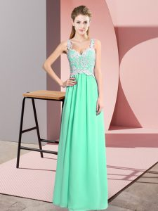 Hot Sale Sleeveless Floor Length Lace Zipper Homecoming Dress with Apple Green