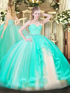 Glamorous Apple Green Sleeveless Beading and Lace and Ruffles Floor Length Quinceanera Dress